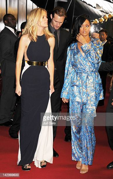 Actresses Brooklyn Decker and Rihanna attend the 'Battleship' World premier at Yoyogi National Gymnasium on April 3 2012 in Tokyo Japan The film will...