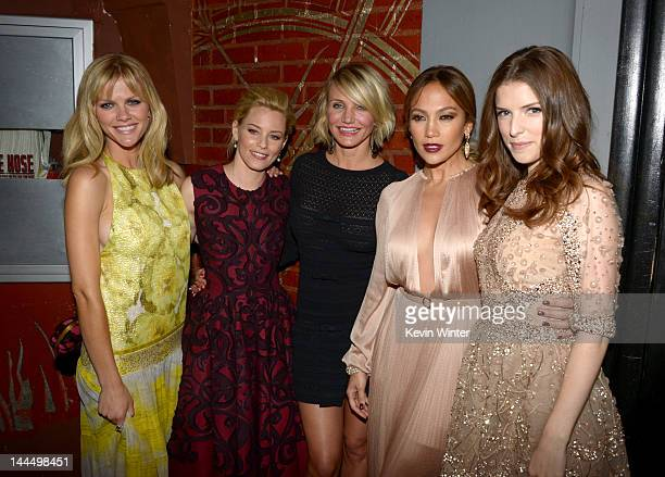 Actresses Brooklyn Decker Elizabeth Banks Cameron Diaz Jennifer Lopez and Anna Kendrick arrive at the premiere of Lionsgate's What To Expect When...