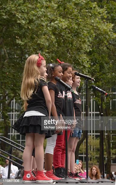 "Actresses Brooklyn Shuck, Emily Rosenfeld, Tyrah Skye Odoms, Amaya Braganza, Gaby Bradbury and Taylor Richardson of ""Annie"" perform during 106.7 LITE..."