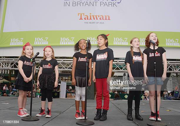 Actresses Brooklyn Shuck Emily Rosenfeld Tyrah Skye Odoms Amaya Braganza Gaby Bradbury and Taylor Richardson of Annie perform during 1067 LITE FM's...