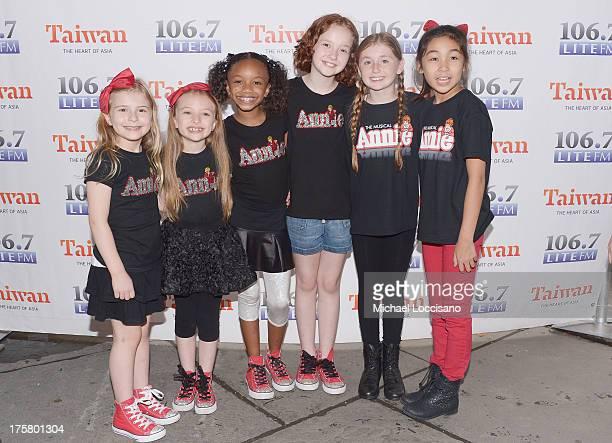 "Actresses Brooklyn Shuck, Emily Rosenfeld, Tyrah Skye Odoms, Taylor Richardson, Gaby Bradbury and Amaya Braganza of ""Annie"" attend the 106.7 LITE..."