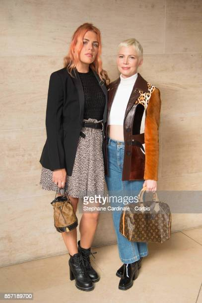 Actresses Busy Philipps and Michelle Williams attend the Louis Vuitton show as part of the Paris Fashion Week Womenswear Spring/Summer 2018 at Musee...