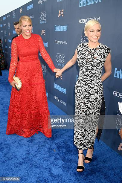 Actresses Busy Phillips and Michelle Williams attend The 22nd Annual Critics' Choice Awards at Barker Hangar on December 11 2016 in Santa Monica...
