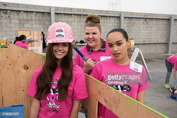 Actresses Caitlin Carver Ashley Fink and Cleopatra Coleman lend a helping hand to the Los Angeles 'Power Women Habitat For Humanity' on June 6 2015...