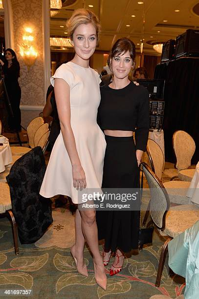 Actresses Caitlin FitzGerald and Lizzy Caplan attend the 14th annual AFI Awards Luncheon at the Four Seasons Hotel Beverly Hills on January 10, 2014...
