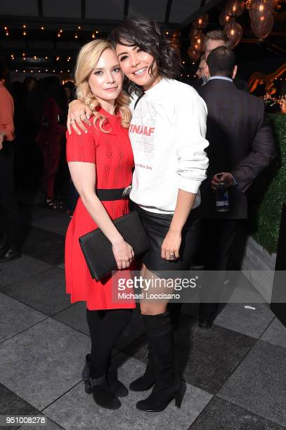 Actresses Caitlin Mehner and Daniella Pineda attend the after party for 'Nigerian Prince' hosted by ATT at Magic Hour Rooftop Bar Lounge during the...
