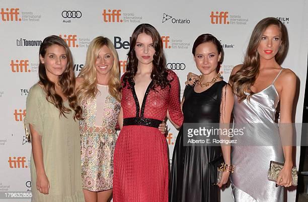 Actresses Caitlin Stasey Brooke Butler Sianoa SmitMcPhee Amanda Grace Cooper and Reanin Johannink arrive at the All Cheerleaders Die premiere during...