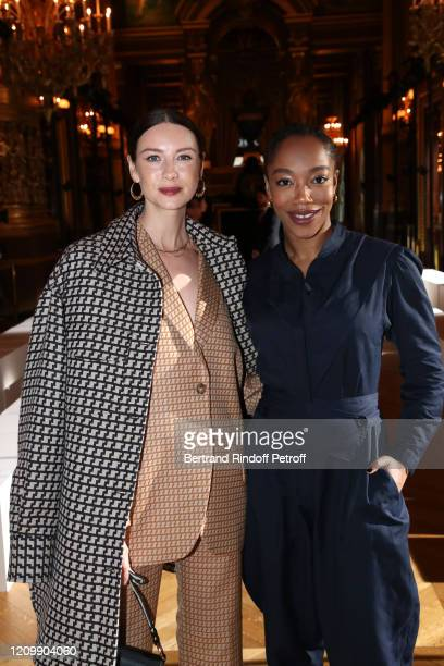 Actresses Caitriona Balfe and Naomi Ackie attend the Stella McCartney show as part of the Paris Fashion Week Womenswear Fall/Winter 2020/2021 on...