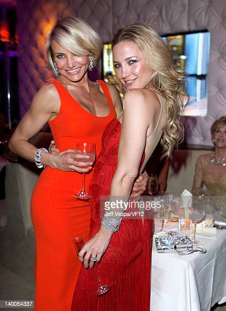 Actresses Cameron Diaz and Kate Hudson attend the 2012 Vanity Fair Oscar Party Hosted By Graydon Carter at Sunset Tower on February 26 2012 in West...