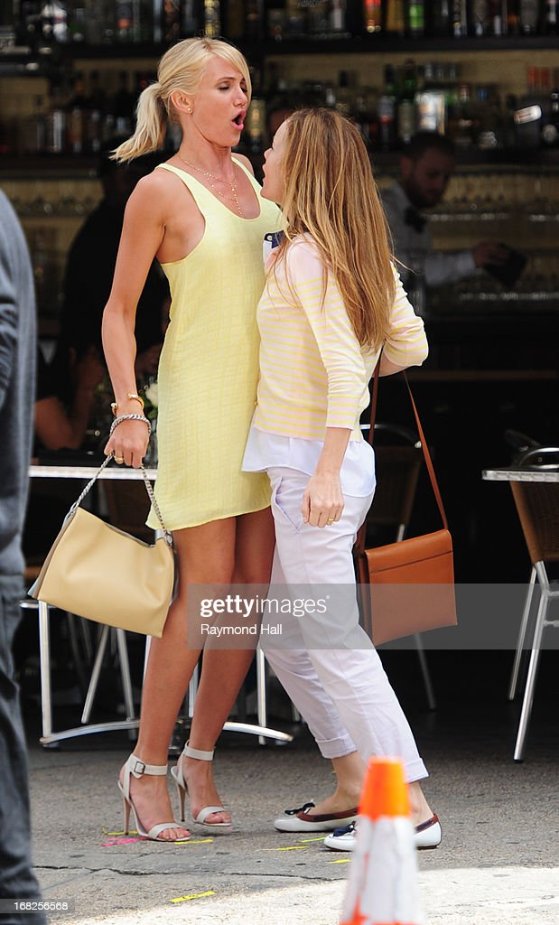 Actresses Cameron Diaz and Leslie Mann are seen on the set of 'The Other Woman' on May 7, 2013 in New York City.