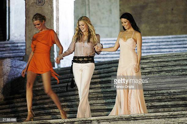 Actresses Cameron Diaz Drew Barrymore and Lucy Liu arrive at the screening of the new movie 'Charlie's Angels Full Throttle' July 3 2003 in Rome Italy