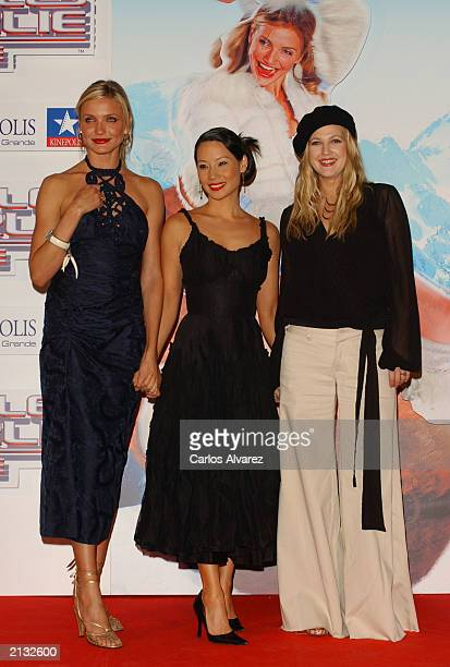 Actresses Cameron Diaz Lucy Liu and Drew Barrimore attend the Spanish premiere of the new Charlie Angels movie at Kinepolis cinema July 2 2003 in...