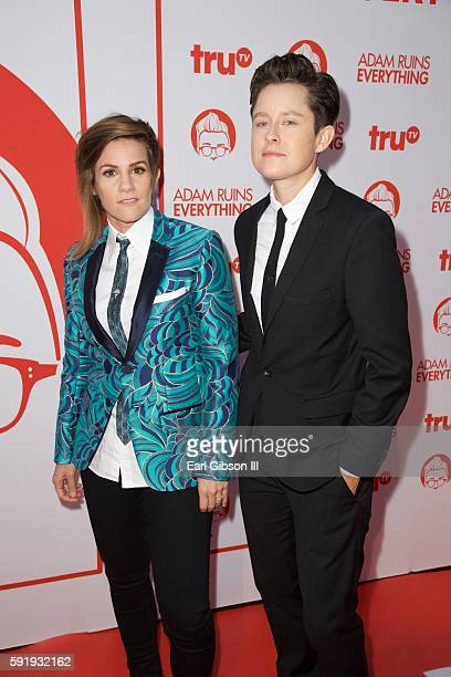 Actresses Cameron Esposito and Rhea Butcher attend the Screening And Recption For truTV's Adam Ruins Everything at The Library at The Redbury on...