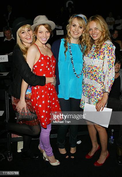 Actresses Cameron Richardson Lauren German clothing designer Sophia Coloma and actress Bijou Phillips front row at Whitley Kros Fall 2008 collection...