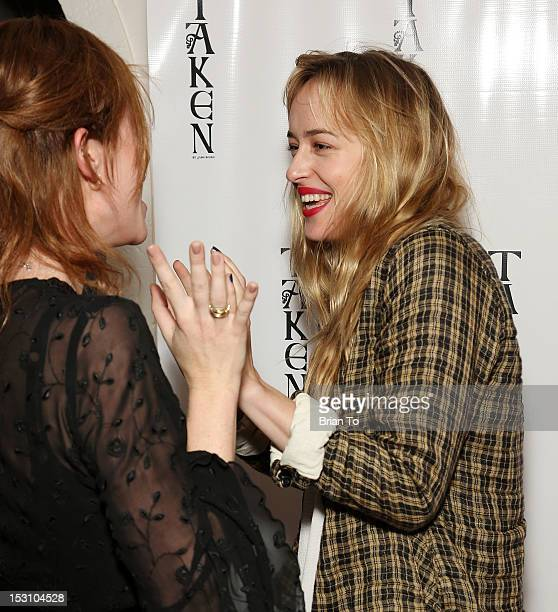 Actresses Camille Cregan and Dakota Johnson attend Jane Booke's clothing and fragrance line launch party for Taken with cohost Rosanna Arquette on...