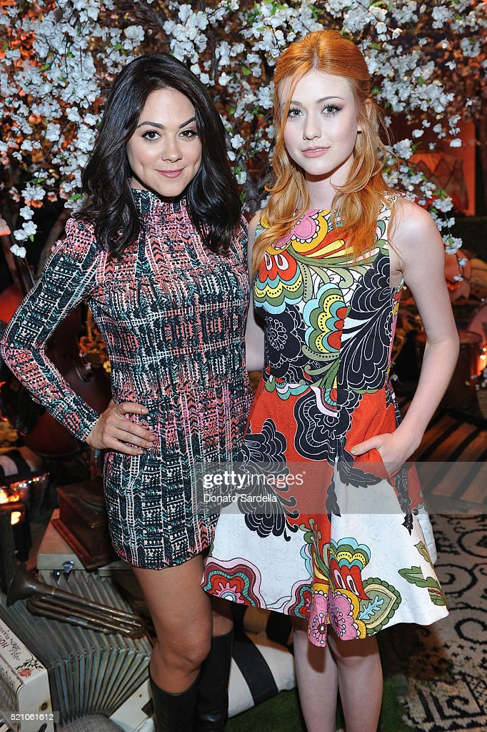 Actresses Camille Guaty (L) and Katherine McNamara attend the alice + olivia by Stacey Bendet Los Angeles Runway Show at NeueHouse Los Angeles on April 13, 2016 in Hollywood, California.