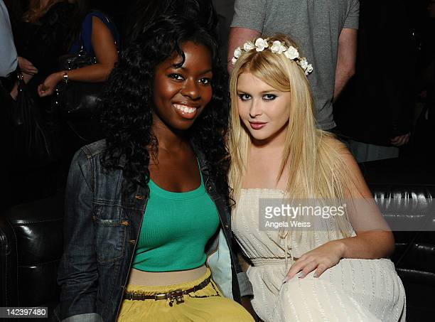 Actresses Camille Winbush and Renee Olstead attend the Chinese Laundry Fashion Denim launch party at Eden on April 3 2012 in Hollywood California