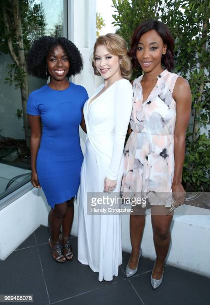 Actresses Camille Winbush Renee Olstead and Charmaine Bingwa attend the Lambda Legal 2018 West Coast Liberty Awards at the SLS Hotel on June 7 2018...