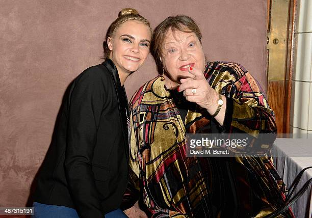 "Actresses Cara Delevingne and Sylvia Syms attend the launch party of ""Timeless"" a oneoff film as part of Sky Arts' Playhouse Presents season at The..."