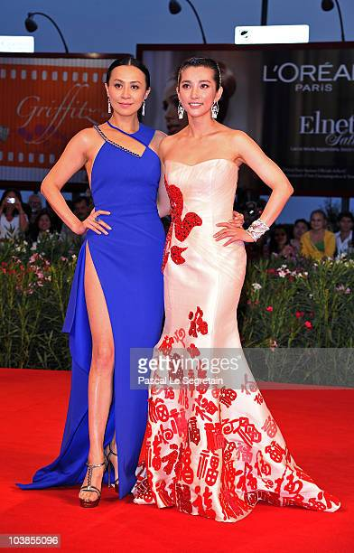 Actresses Carina Lau and Li Bingbing attends the Detective Dee And The Mystery Of Phantom Flame premiere during the 67th Venice Film Festival at the...