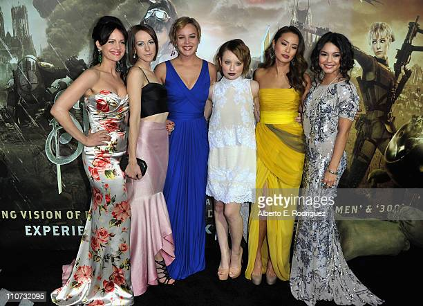 Actresses Carla Gugino Jena Malone Abbie Cornish Emily Browning Jamie Chung and Vanessa Hudgens arrive at the Sucker Punch Los Angeles premiere at...