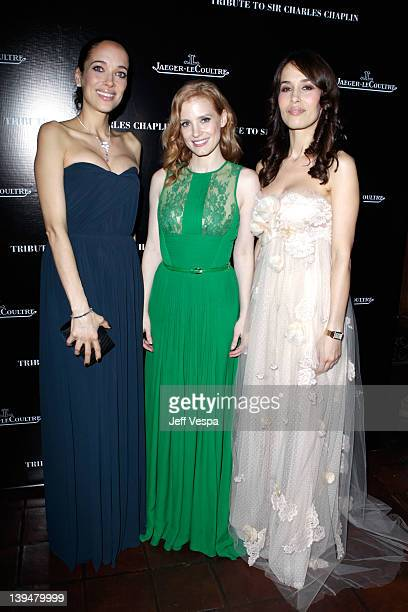 Actresses Carmen Chaplin Jessica Chastain and Dolores Chaplin arrive at a tribute to Sir Charles Chaplin by Carmen and Dolores Chaplin with the...