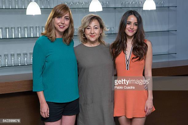 Actresses Carmen Ruiz, Carmen Machi and Macarena Garcia attends the 'Villaviciosa De Al lado' photocall at Warner Bros office on June 23, 2016 in...
