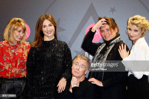 Actresses Caroline Anglade Elsa Zylberstein Dirctor and Actor Franck Dubosc guest and Actress Alexandra Lamy attend 'Tout Le Monde Debout' Premiere...