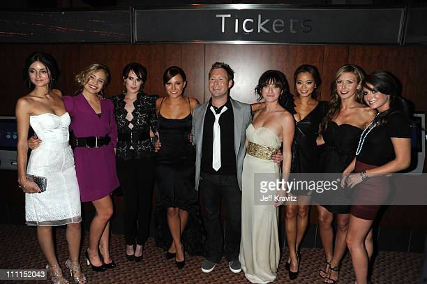Actresses Caroline D'Amore Leah Pipes Rumer Willis Briana Evigan director Stewart Hendler Margo Harshman Jamie Chung Audrina Patridge and Justine...
