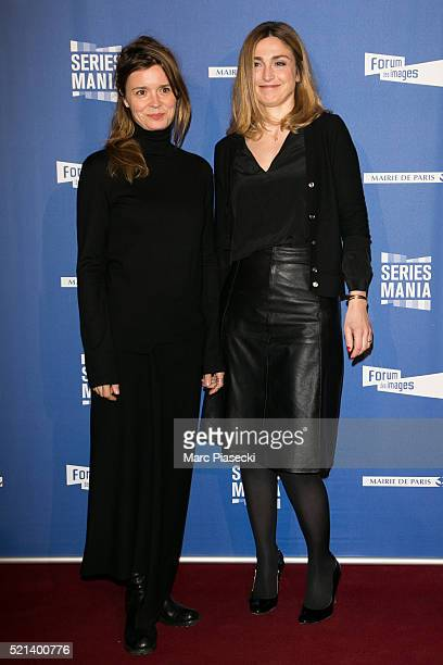 Actresses Caroline Proust and Julie Gayet attend the '7th Series Mania Festival' opening ceremony at Le Grand Rex on April 15 2016 in Paris France