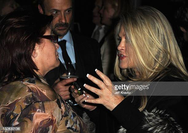 Actresses Carrie Fisher and Beverly D'Angelo attend the reception for the HBO premiere of Wishful Drinking held at the Linwood Dunn Theater at the...