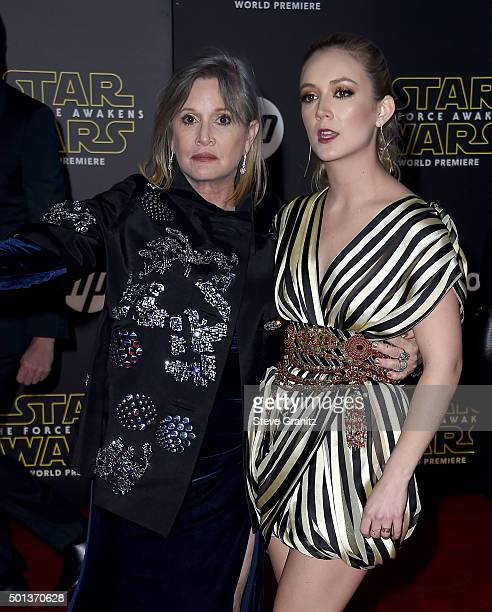 Actresses Carrie Fisher and Billie Lourd arrive at the premiere of Walt Disney Pictures' and Lucasfilm's Star Wars The Force Awakens at the Dolby...