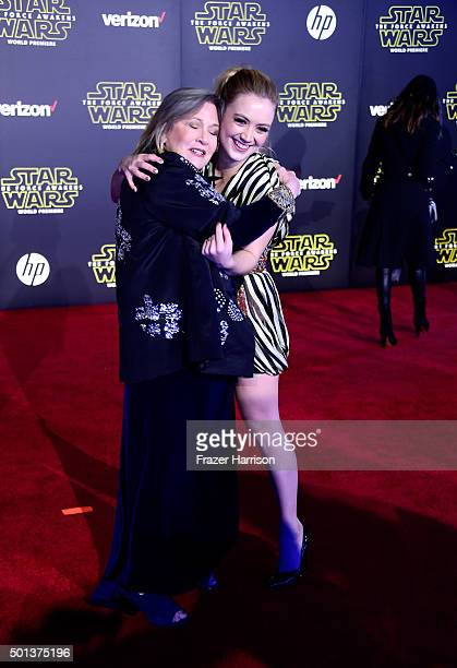Actresses Carrie Fisher and Billie Lourd attend the Premiere of Walt Disney Pictures and Lucasfilm's 'Star Wars The Force Awakens' on December 14...