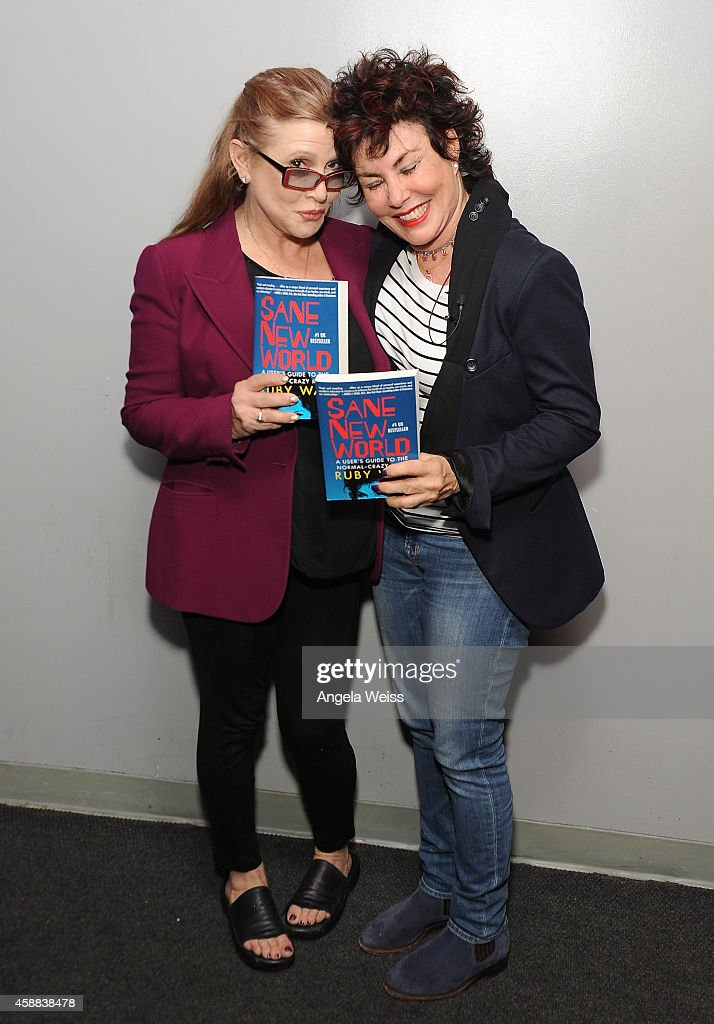 Actresses Carrie Fisher and Ruby Wax attend Live Talks Los Angeles presents Ruby Wax in Conversation with Carrie Fisher at Aero Theatre on November 11, 2014 in Santa Monica, California.
