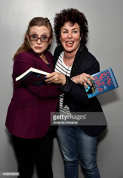 Actresses Carrie Fisher and Ruby Wax attend the Live Talks Los Angeles Ruby Wax In Conversation With Carrie Fisher event at the Aero Theatre on...