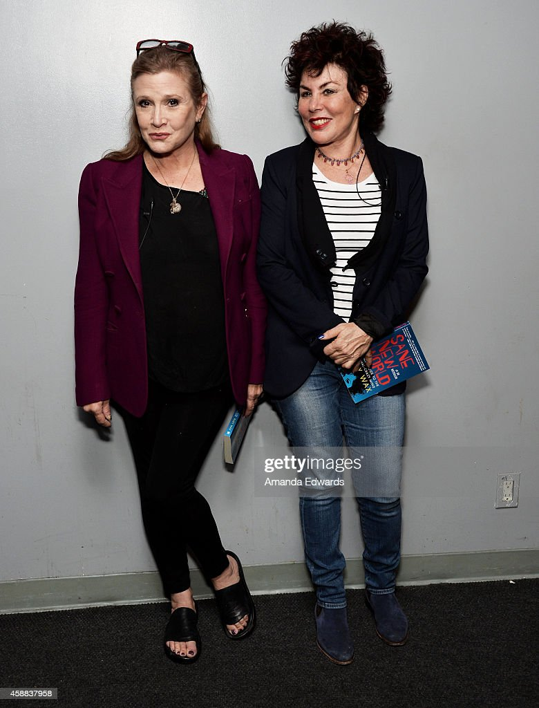 Actresses Carrie Fisher (L) and Ruby Wax attend the Live Talks Los Angeles Ruby Wax In Conversation With Carrie Fisher event at the Aero Theatre on November 11, 2014 in Santa Monica, California.