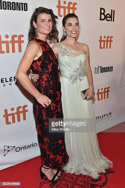 Actresses Carrie Lazar and Alix Angelis attend The Magnificent Seven premiere during the 2016 Toronto International Film Festival at Roy Thomson Hall...