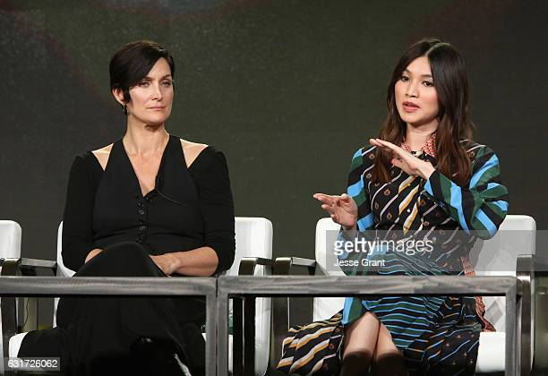 Actresses CarrieAnne Moss and Gemma Chan speak onstage during the AMC presentation of The SON HUMANS Season 2 Better Call Saul Season 3 on January 14...