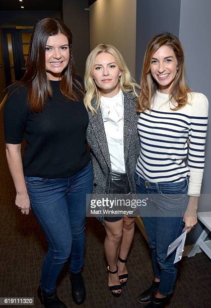 Actresses Casey Wilson Elisha Cuthbert and Danielle Schneider pose backstage during Entertainment Weekly's PopFest at The Reef on October 29 2016 in...