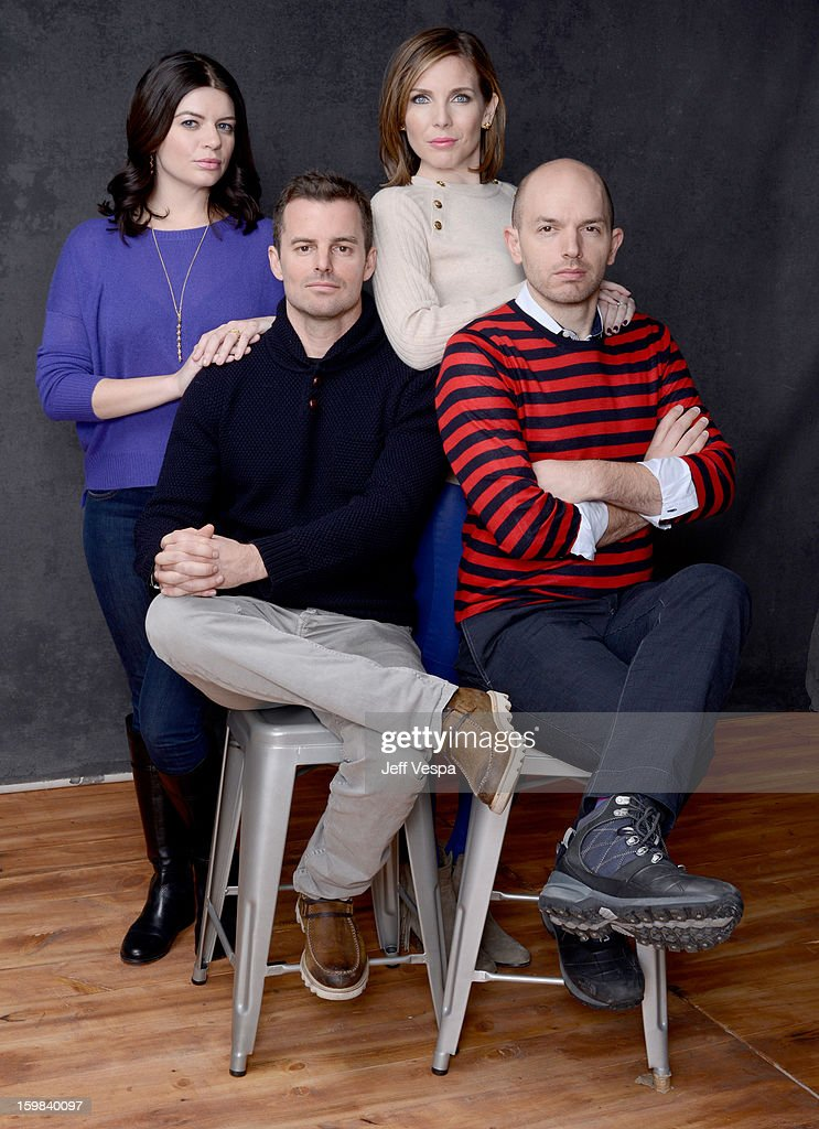Actresses Casey Wilson, June Diane Raphael, (Bottom L-R) filmmaker Chris Nelson, and actor Paul Scheer pose for a portrait during the 2013 Sundance Film Festival at the WireImage Portrait Studio at Village At The Lift on January 21 2013 in Park City, Utah.