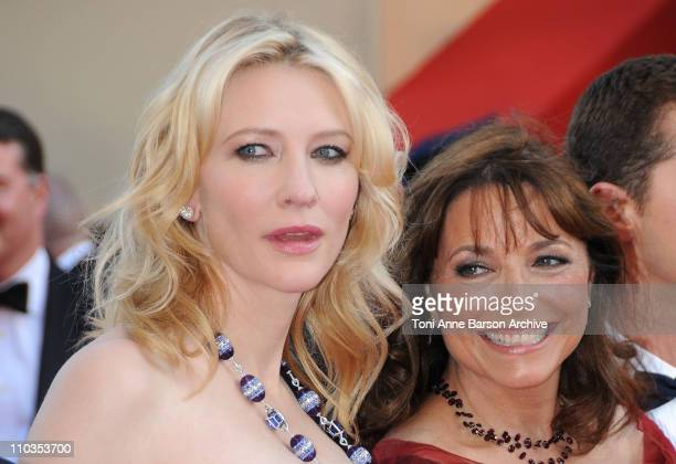 Actresses Cate Blanchett and Karen Allen attend the Indiana Jones and the Kingdom of the Crystal Skull premiere at the Palais des Festivals during...