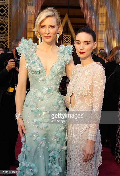 Actresses Cate Blanchett and Rooney Mara attend the 88th Annual Academy Awards at Hollywood Highland Center on February 28 2016 in Hollywood...