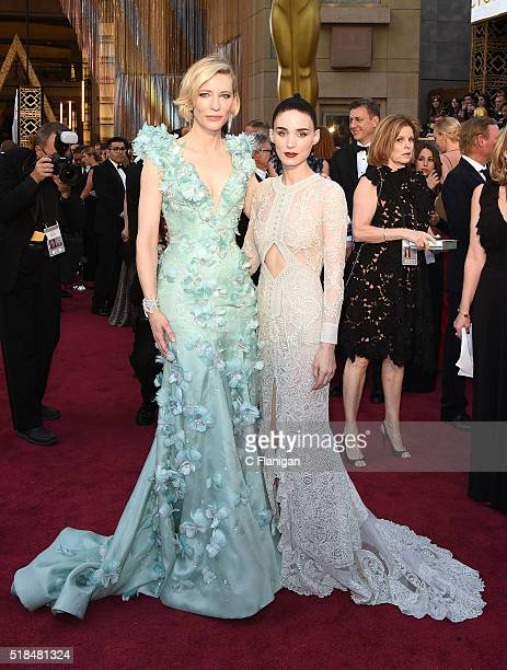 Actresses Cate Blanchett and Rooney Mara attend the 88th Annual Academy Awards at the Hollywood Highland Center on February 28 2016 in Hollywood...