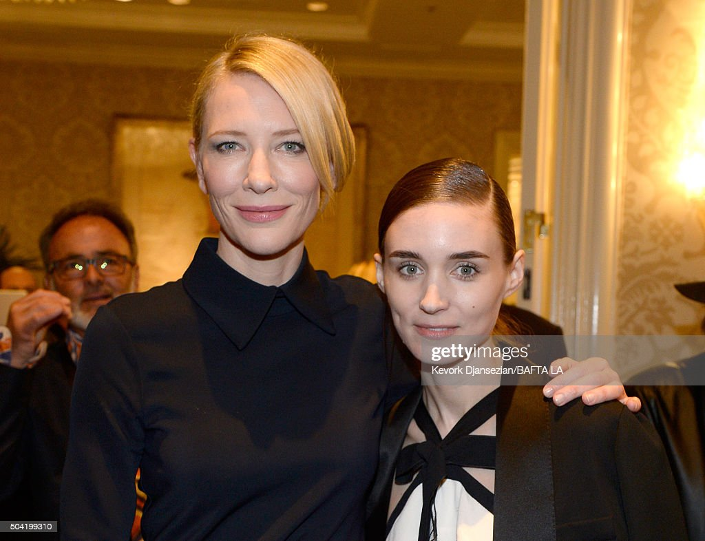 Actresses Cate Blanchett (L) and Rooney Mara attend the BAFTA Los Angeles Awards Season Tea at Four Seasons Hotel Los Angeles at Beverly Hills on January 9, 2016 in Los Angeles, California.