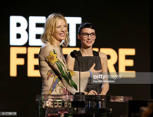 Actresses Cate Blanchett and Rooney Mara speak onstage during the 2016 Film Independent Spirit Awards on February 27 2016 in Santa Monica California