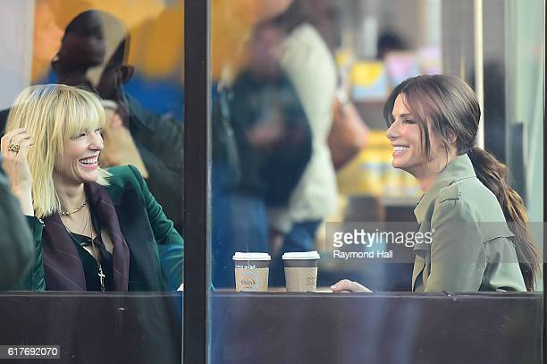 Actresses Cate Blanchett and Sandra Bullock are seen on the set of Ocean's Eight on October 24 2016 in New York City