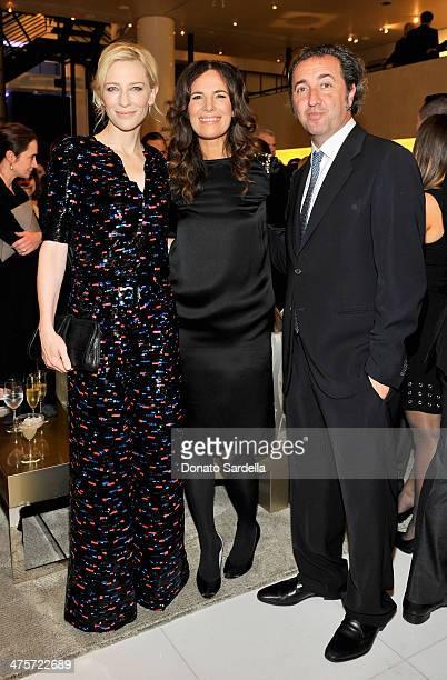 Actresses Cate Blanchett Roberta Armani and director Paolo Sorrentino attend the Giorgio Armani special celebration honoring Martin Scorsese and...