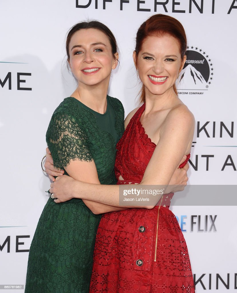 Actresses Caterina Scorsone and Sarah Drew attend the premiere of 'Same Kind of Different as Me' at Westwood Village Theatre on October 12, 2017 in Westwood, California.