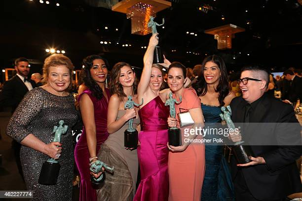 Actresses Catherine Curtin, Jessica Pimentel, Kimiko Glenn, Emma Myles, Taryn Manning, Laura Gomez, and Lea DeLaria, pose with their awards for...