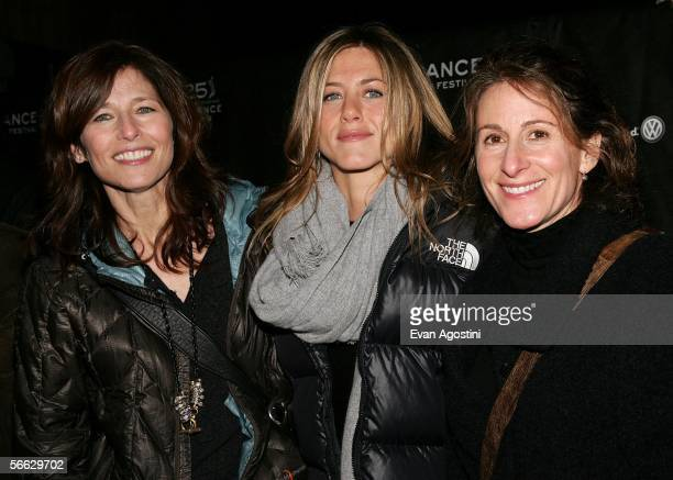 Actresses Catherine Keener Jennifer Aniston and director Nicole Holofcener arrive at the Friends with Money opening night premiere at Eccles Theatre...